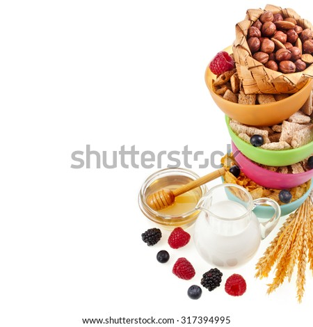 Diet weight loss breakfast concept , tower stack isolated on a white background - stock photo