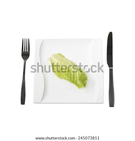 Diet, weight loss, low calories food concept - single green salad leaf on plate with fork and knife isolated on white background - stock photo
