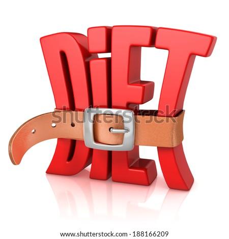 diet with tighten belt 3d concept - stock photo