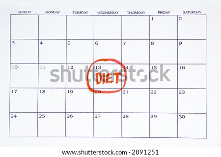 DIET written in red on white calendar - stock photo