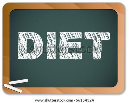 Diet written on blackboard with chalk. - stock photo