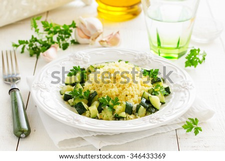 Dietary dish- cous cous with braised zucchini.