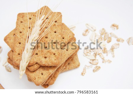 Dietary, Healthy and Low Caloric Grain Crackers on a white background