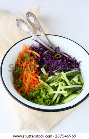 Dietary salad with carrots, fresh food