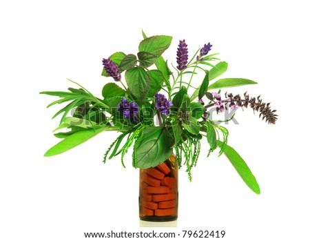 Dietary supplement from fresh herbs - stock photo