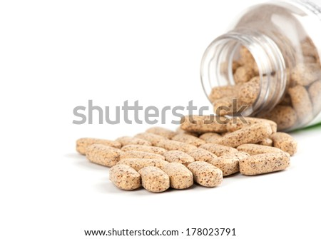 dietary supplement. multivitamin tablets on white - stock photo