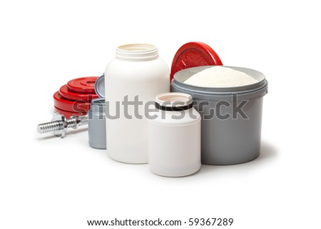 Dietary supplements and steel dumbbells for body building - stock photo