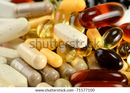Dietary supplements. Variety of drug pills - stock photo
