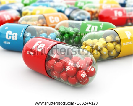 Dietary supplements. Variety pills. Vitamin capsules. 3d - stock photo