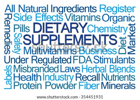 Dietary Supplements word cloud on blue background - stock photo
