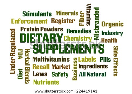 Dietary Supplements word cloud on white background - stock photo