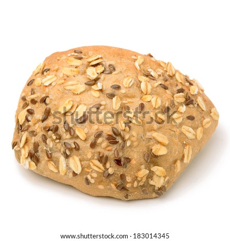 Dietary whole poppy bread isolated on white background.
