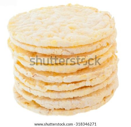 dietetic corn biscuits in white background