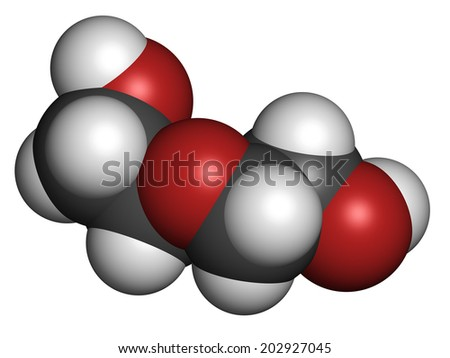 Diethylene glycol chemical solvent molecule. Highly toxic. Used as adulterant in wine, syrups and counterfeit drugs. Atoms are represented as spheres with conventional color coding: hydrogen (white),.