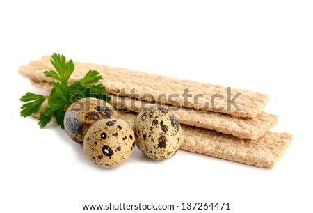 Dietic rye bread and quail eggs. Anti-cholesterol diet. - stock photo