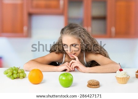 Dieting, Choice, Food. - stock photo