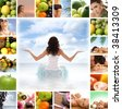 Dieting collage - stock photo
