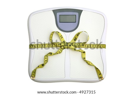 Dieting concept. A scale with a tape measure wrapped around it tied in a bow. The display window is blank for your own numbers or text. White background. - stock photo