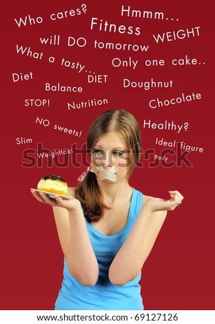 Dieting concept: attractive girl with chocolate cake and closed mouth by sticky tape, and her thoughts above. - stock photo
