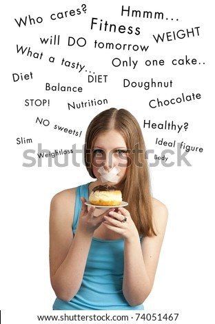 Dieting concept: attractive girl with chocolate cake and closed mouth by sticky tape, and her thoughts above. Studio shot, isolated on white background. - stock photo