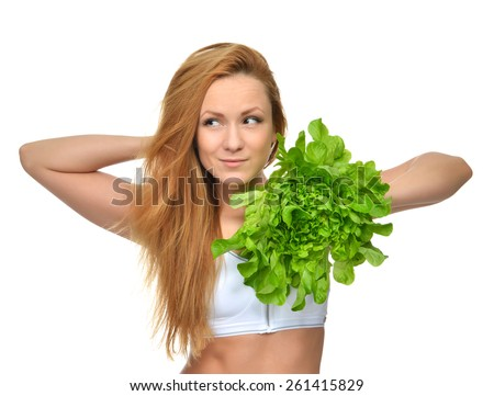 Dieting concept Beautiful Young Woman on diet with healthy food salad isolated on a white background - stock photo