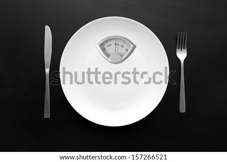 dieting concept - white plate with weight scale - stock photo