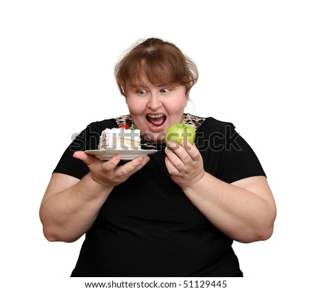 dieting overweight woman choice isolated on white - stock photo