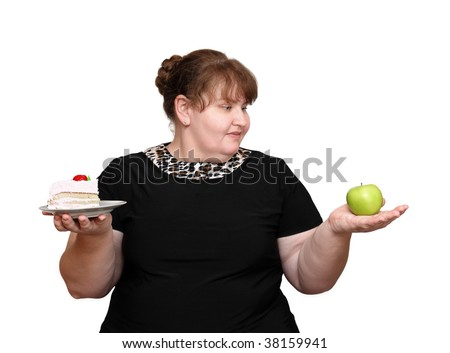dieting overweight women choice isolated on white - stock photo