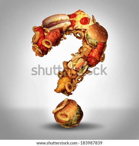 Dieting questions concept and diet worries with greasy fried fast food take out as burgers and hot dogs with fried chicken french fries and pizza shaped as a question mark for eating uncertainty. - stock photo