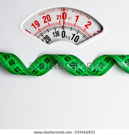 Dieting weightloss slim down concept. Closeup measuring tape on white weight scale copy space text area - stock photo