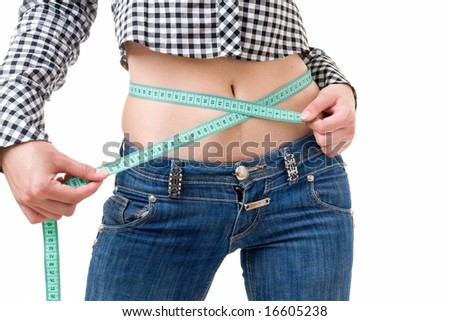 Dieting woman with measuring tape on a white background.