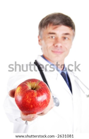 Dietitian with a fruit. - stock photo
