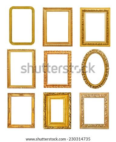 Diferent shape golden frames on white background - stock photo