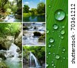 Diferent waterfall and river collage - stock