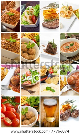 diferents types of meal prepared in restaurant