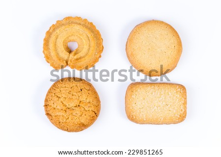 Difference shape of butter cookies - stock photo