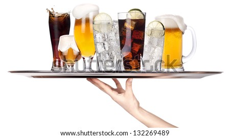 different alcohol drinks on a tray -beer,cocktail,champagne,wine,whiskey,cola - stock photo