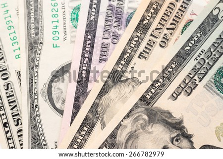 Different american dollars banknotes close-up. Background  texture - stock photo
