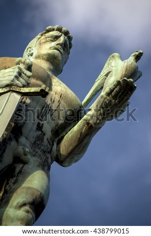 Different angle of shooting close up at a Victor monument in Kalemegdan fortress, Belgrade, Serbia - stock photo