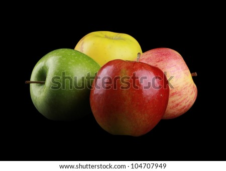 Different Appels isolated on black - stock photo