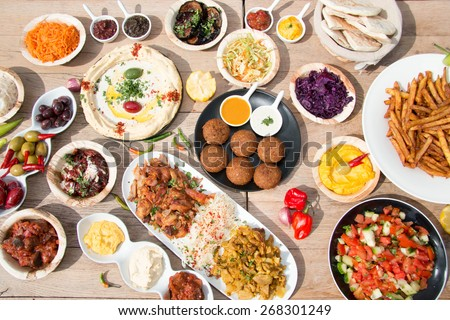 Different appetizer and anti pasti - stock photo