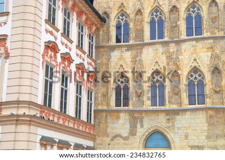 Different architectural styles on the facades of Prague Old Town, Czech Republic - stock photo
