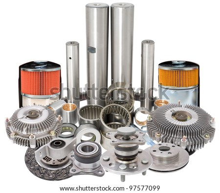 different auto car spare parts - a collage - stock photo
