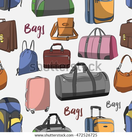 Different bags set pattern - bags, cases, suitcases, backpacks, kids backpack, box, Lady bag, carry-on luggage, purse and other.