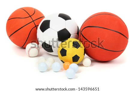Different balls, isolated on white - stock photo