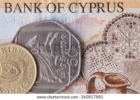 Different banknote and coins of  Pound  of Cyprus