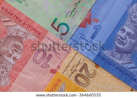 Different banknote and of  Ringgit of Malaysia - stock photo