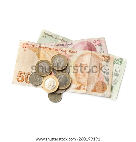 Different banknotes and coins. Turkish national money isolated on white background - stock photo