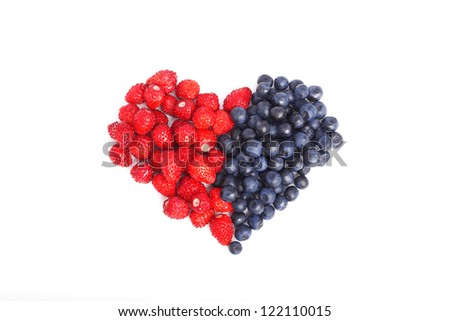 Different berries on a white background - stock photo