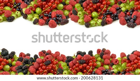 different berries on a white background closeup - stock photo